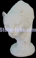 stone animal cat garden statues white marble carving designs