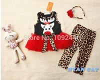 Girl suit, festive clothes Christmas deer Leggings + dress + headband elegant ladies skirt 30sets/lot