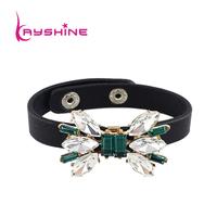 2014 New Fashion Wholesale European Style Punk Leather Wristband Pulseiras  Charm Bracelets For Women And Men