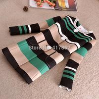 Free shipping U&Me 2014 new autumn European and American big retro irregular stripes hit color women fashion space cotton jacket