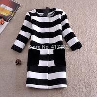 Free shipping U&Me Wholesale winter new women Korean striped coat jacket long high-grade plush quilted jacket pocket pairs