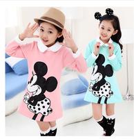 New 2014 Beautiful Minnie Girl Dress For  Spring And Autumn Cotton Girl Ladies  Dress  Cartoon Princess Dress