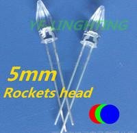 Christmas tree Lighting 5mm RGB color changing strip led 3.0-3.5V Rocket head led(Fast flashing)