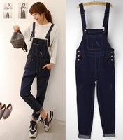 2014 Autumn Winter Casual Women Denim Jumpsuit Overalls Loose Dark Blue Jeans Long Romper Overall For Female Girl 77908