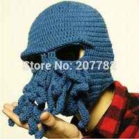 Hot Aliexpress Novelty Handmade Knitting Wool Funny Beard Octopus Hats Caps Crochet Knight Beanies For Men Unisex Gift