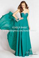 Rhinestone Sweetheart Fashion Long Green Dress Party Evening Elegant HM678 Vestido de Festa 2015