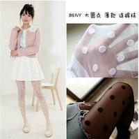 sexy big dots tights in women's knee high socks joint stocking women  black coffee skin  white silk stocking   L013