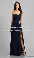 High Slit New Fashion Sweetheart Chiffon Long Navy Blue Evening Dress Women Party Gown HM687