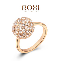 ROXI Classic Fashion Rose Gold Plated Ring Jewelry Genuine SWR Crystal Ball Vintage Wedding Party Ring For Women Best Gift Anel