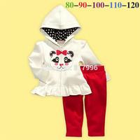Free shipping Spring Autumn New girls panda jacket + pants two pieces set,cartoon clothing set,girls jacket,5sets/lot wholesale
