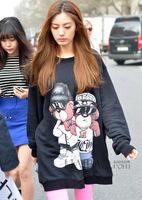 women's hoody 2014 autumn fashion loose long cartoon printed pullovers casual sweatshirts for women free shipping Z676