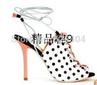 New 2014 Sale Polka-Dot Women Shoes Peep Toe Lacing Up Sandals Fashion Design Top Quality Pumps