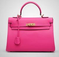 Genuine leather bag real natural leather woman handbag France brand 32cm bag with ribbons lock messenger bag free shipping