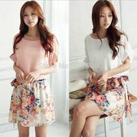 Retrorse sleeve dress 2014 summer women bat sleeve chiffon floral dress White, pink Lady fashion dresses S-XXL Free shipping