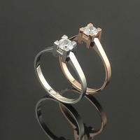 One karat CZ diamond square single letter H Wedding Ring  titanium rose gold lovers ring finger ring accessories