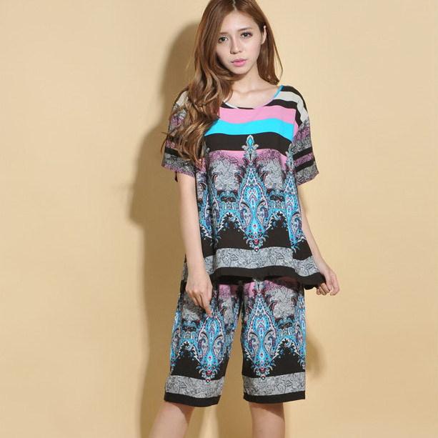 2015 Summer Women Short Sleeve Pajama Short Sleep Pants Sleepwear Set Ladies Ethnic Print Viscose Home Wear Suit Casual Lounge(China (Mainland))
