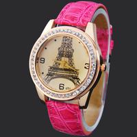 Free & Drop Shipping ! 1PC Rose Red Eiffel Tower Girls Ladies Womens Quartz Wrist Watch Watches Lady Quartz Wristwatches