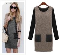 2014 Autumn Winter Women Casual Wool Winter Sweater Dress Large BIG Plus Size Stars Long Sleeve Sweater Render Bottoming Dress