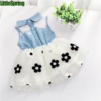 2014 Girl clothes Children's clothing girl's cotton cartoon dress kids short sleeve lace one-piece Little Spring GTJ-Q0194