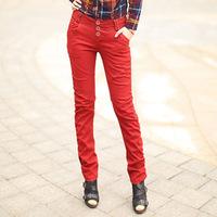 New Fashion European Style Women Slim Fit Pencil Pants Decorative Buttons  Ladies Solid Color Leisure Trousers No Belt