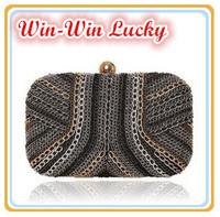 2014 New Fashion Women's Party Clutch Punk Style Chain Banquet Evening Bag Brand Design Handbag Shoulder Bag Purse Free Shipping