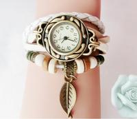 Fashion leather wrap bracelet bangle watch Lady watch student leaf ornaments vintage watches