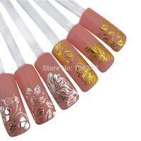 3D Gold/Silver Nail Stickers Decals Hot Stamping Nail Tips Decoration Tools DIY Free Shipping 1pcs/lot