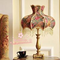 Free shipping European American Pastoral fabric table lamp table lamp table lamp bedroom bedside lamp decoration ideas
