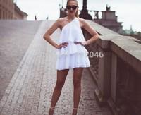 summer dress 2014 vestidos desigual Sexy Hot Sell Ruffles Single shoulder Dress cocktail Causal Women Party dresses 300