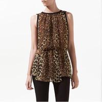 2014 Hot Sale Brief Sexy Women Tops Leopard Slim Chiffon Designed Casual Ladies Summer Shirt Trend All-match OL Base Blousa