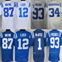 cheap #12 Andrew Luck #34 Trent Richardson #87 Reggie Wayne 13 T.Y Hilton  93 Dwight Freeney 1 Pat McAfee Elite Footall Jersey