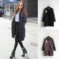 New 2014 Fashion Winter Coat Women Loose Casual Leather Sleeve Patchwork Woollen Coat Overcoat JC049
