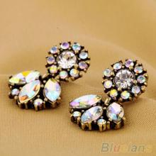 Fashion Jewelry Bohemian Resin Crystal Flower Studs Earrings For Women B02