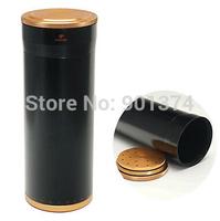 COHIBA Large Black Aluminium Alloy Cigar Jar Tube Humidor Holder W/Humidifier  -free shipping