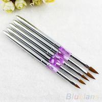 5pcs UV Gel Acrylic Nail Art Brush Painting Pen Nail Tips Manicure Tool  B02