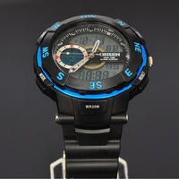 OHSEN Blue Case Mens Day Date Alarm Stopwatch Chronograph Analog Digital Quartz Rubber Band Wrist Watch W080