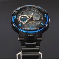 OHSEN Blue Case Mens Day Date Alarm Stopwatch Chronograph Analog Digital Quartz Rubber Band Wrist Watch W080
