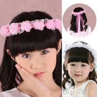 Girl Children Faux Pearls Lace Ribbon Floral Flower Wedding Hairband Headband  B02