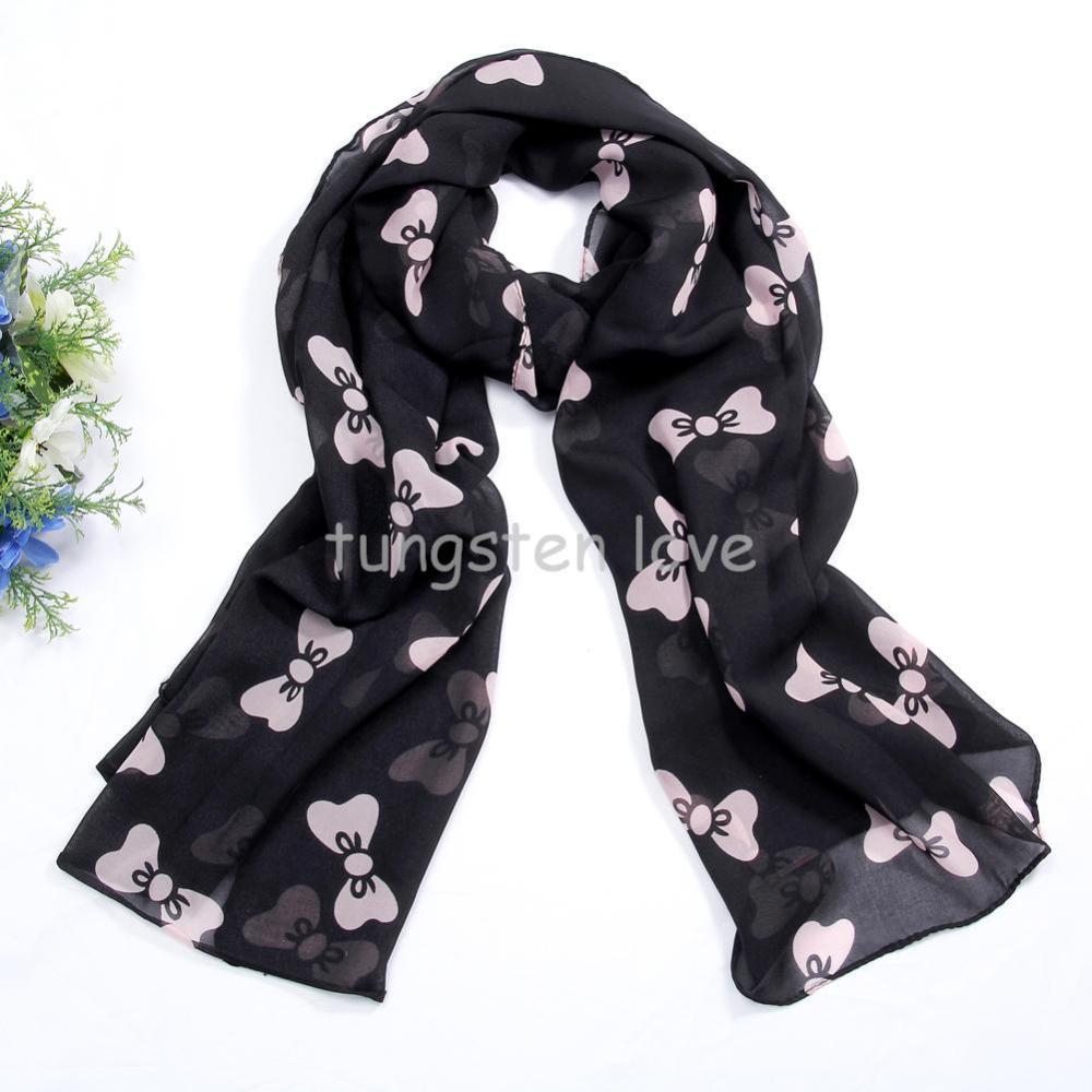 160cm Fashion Big Bowknot Print Chiffon Scarf Scarves Female Women Ladies Shawls and Wraps Beach Towels Gift--Black/pink(China (Mainland))