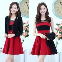Free Shipping 2014 new small long sleeve blazer and sleeveless knit dress OL Fashion twinset free belt