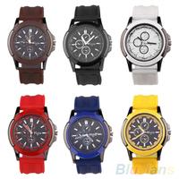 Men's Military Army Round Dial Silicone Rubber Strap Band Sports Quartz Wrist Watch B02