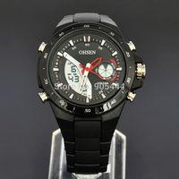 OHSEN Military Black Mens Day Date Alarm Stopwatch Chronograph Analog Digital Quartz Band Wrist Watch W082