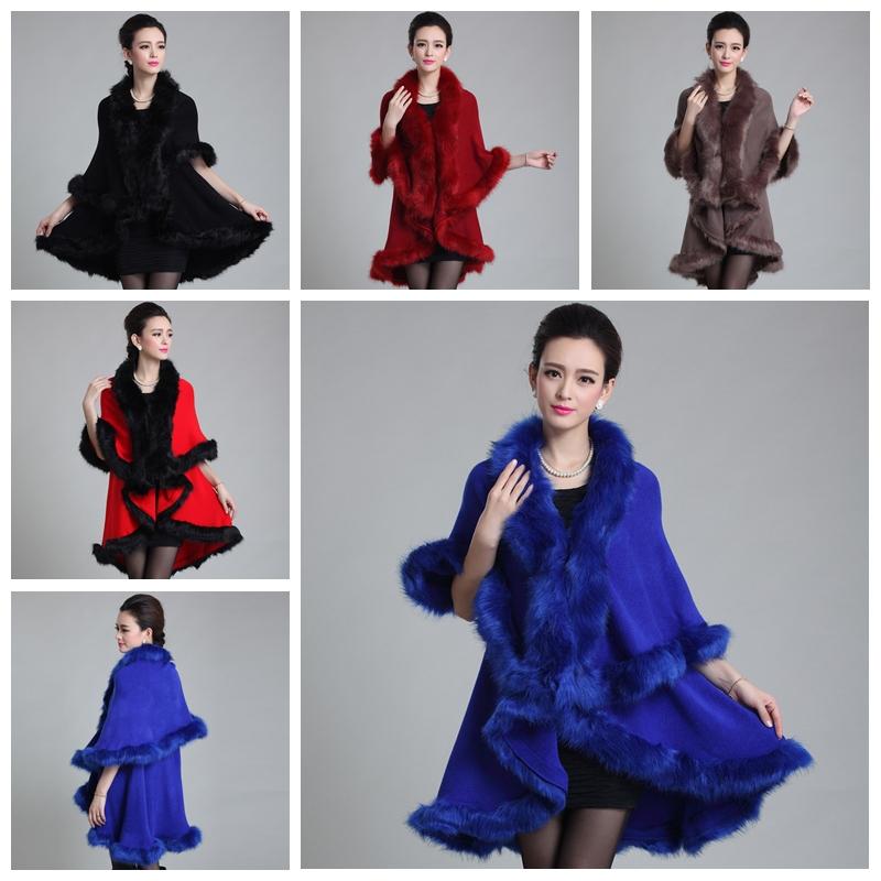 Autumn Winter Warm Oversized Women Double Layer Faux Fur Shawl Poncho Cloak Outwear Coat Plus Size S2109(China (Mainland))