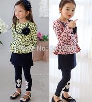 2014 New Girls Splicing Fasle Two Piece Long Sleeve Dress Sunflower Children dresses Flower Girl elegant Dresses