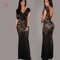 2014 New Sexy Women Dress Black Orchid  Lace Nude Illusion Low Back Long Evening Dress Desigual Vestido de Festa