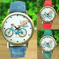 Women's Fashion Bike Bronze Jean Fabric Band Quartz Analog Wrist Watch  B02