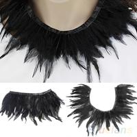 Black Feather Handmade Neck Collar Wrap Cape Poncho Party Evening Dress Cloth  B02
