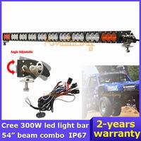 "53.8"" Cree LED Headlight bar 300W SUV 12V led off-road car 30x10w beam combo white+Amber Led work light bar + wriing harness kit"