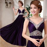 2014 New Design Crystal Beading V-neck High Waist Long Evening Dresses 7 Color