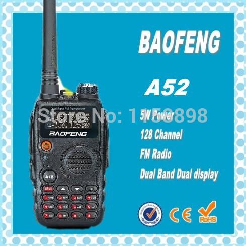 DHL Freeship+2pcs/pair 2014 New Fashional Baofeng A52 A-52 dual band 2 way radio long range walkie talkie handie 10km(China (Mainland))
